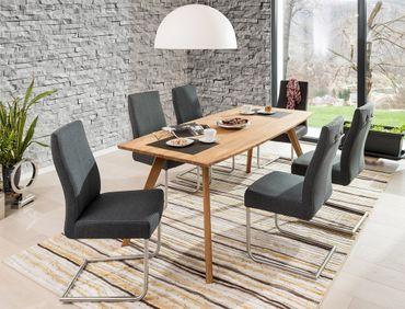 Tischgruppe Tisch Tromsa Bootsform + 6 Schwingstühle Giada anthrazit