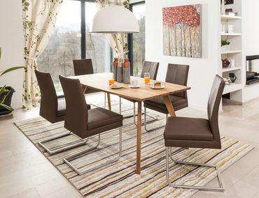 Tischgruppe Tisch Tromsa Bootsform + 6 Schwingstühle Gonda espresso