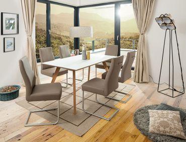 Tischgruppe Tromsa Vidrio weiss Eiche lack + 6 Schwinger Giada sahara
