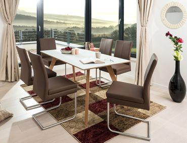 Tischgruppe Tromsa Vidrio weiss Eiche + 6 Schwingstühle Gonda espresso