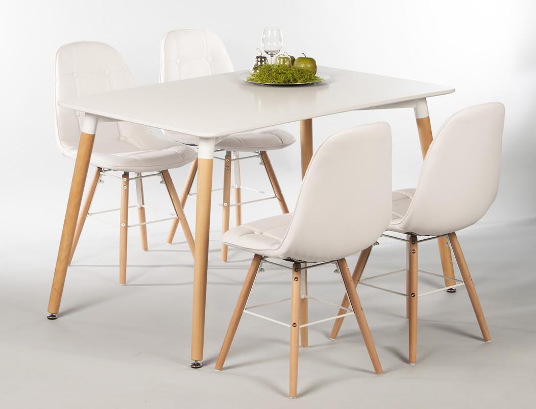 Tischgruppe Esstisch Ilka weiß + 4 Stühle Tobias weiß Essgruppe ...