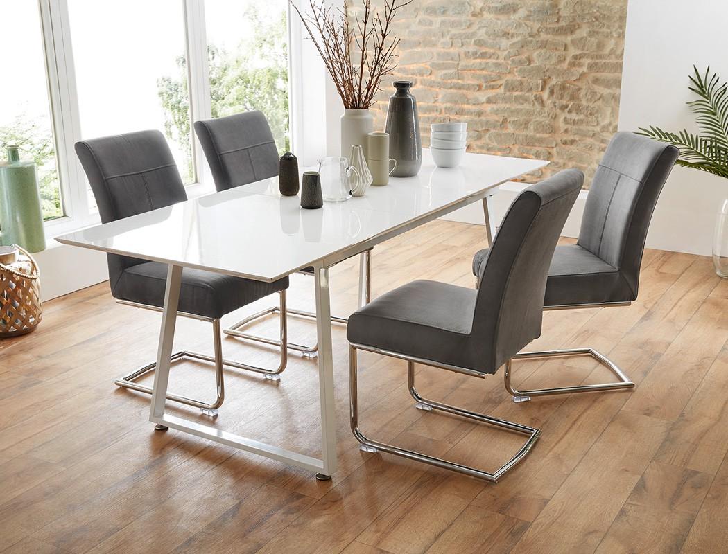 esstisch armin 160 200 x80x75 cm wei hochglanz esszimmertisch tisch wohnbereiche esszimmer. Black Bedroom Furniture Sets. Home Design Ideas