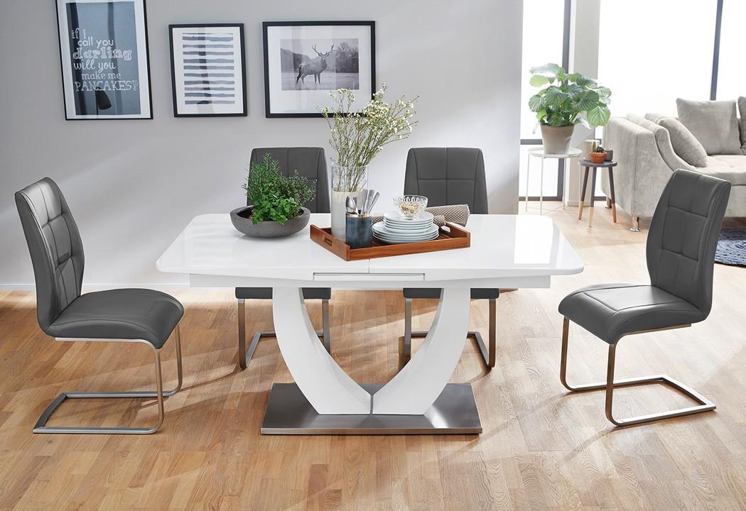 schwingstuhl gemma kunstleder grau freischwinger esszimmerstuhl st hle wohnbereiche esszimmer. Black Bedroom Furniture Sets. Home Design Ideas