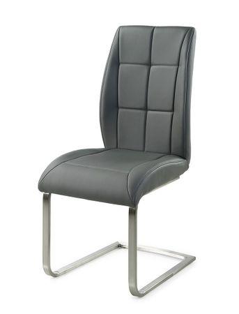 4x Schwingstuhl Gemma Kunstleder grau Freischwinger Esszimmerstuhl Stühle