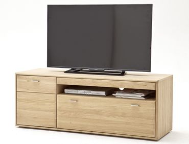 Lowboard Torrent 3 Eiche bianco massiv 149x56x52 TV-Möbel TV-Schrank