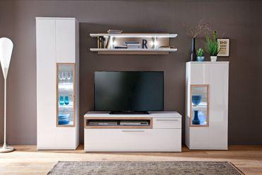 Wohnwand Parla 20 weiß Hochglanz 4-teilig Medienwand TV-Wand mit LED