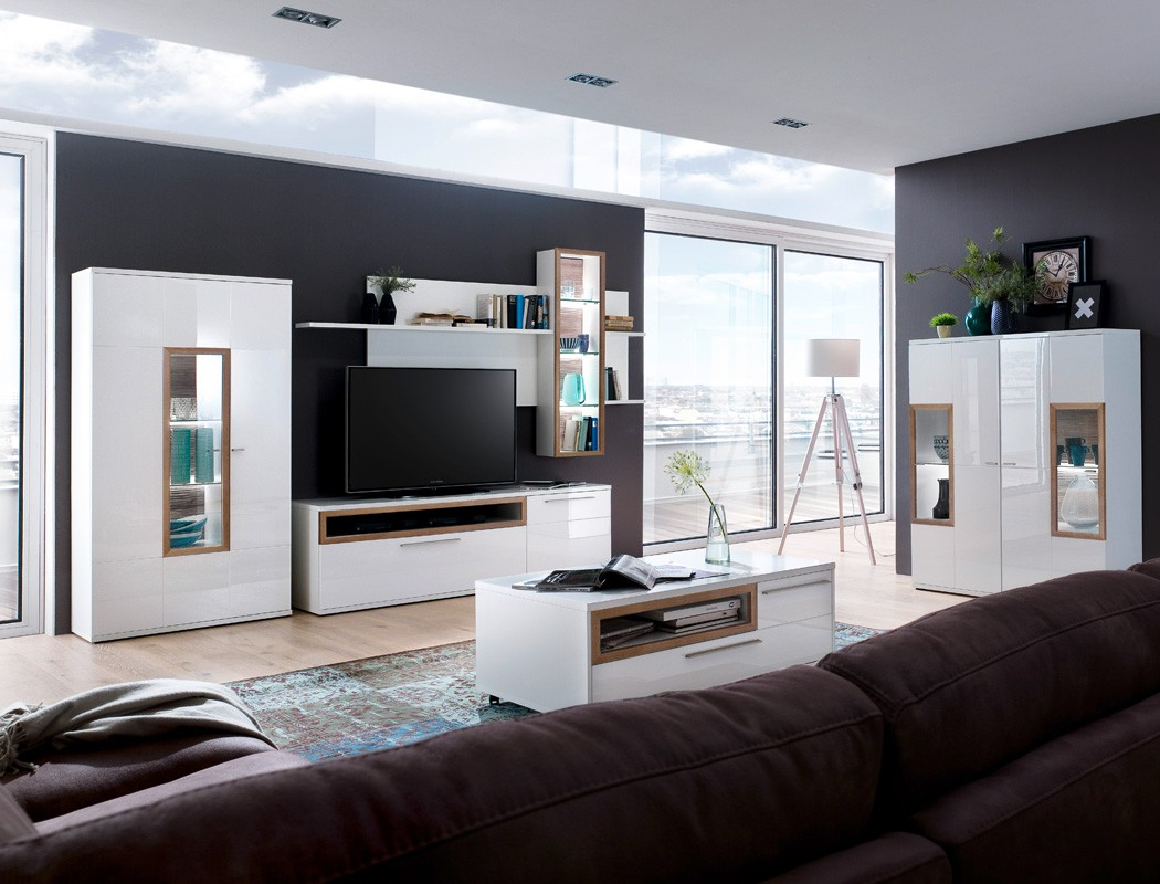 wohnwand parla 22 wei hochglanz 3 teilig medienwand tv. Black Bedroom Furniture Sets. Home Design Ideas