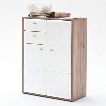 Kommode Como 4 weiß Hochglanz 80x106x38 cm Sideboard Garderobe Diele