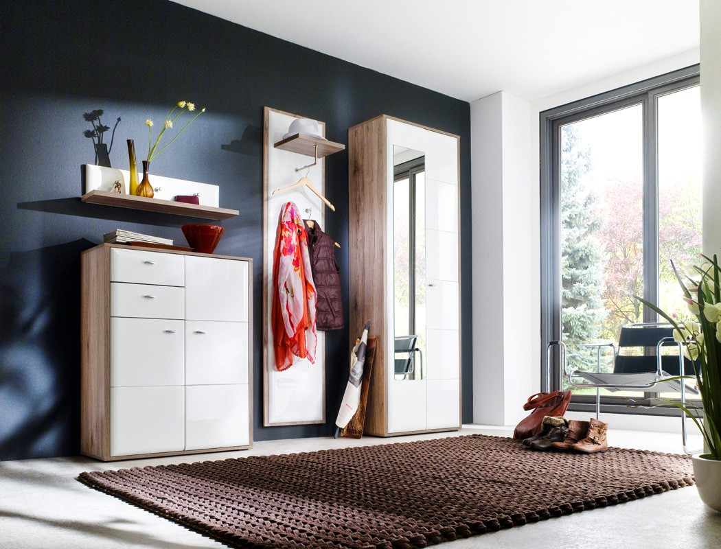 garderobenpaneel como 5 wei hochglanz 45x196x32 cm wandpaneel diele wohnbereiche bad. Black Bedroom Furniture Sets. Home Design Ideas