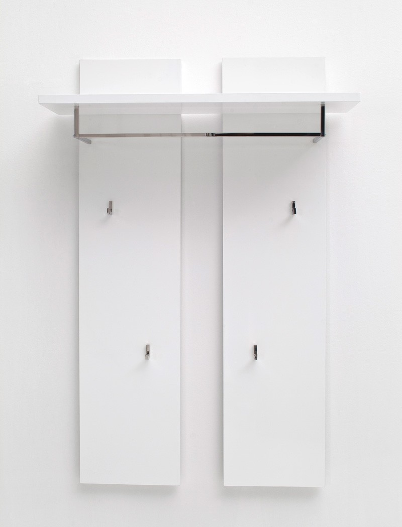 garderobenpaneel odin 91x135x25 cm hochglanz wei wandpaneel diele wohnbereiche bad garderobe. Black Bedroom Furniture Sets. Home Design Ideas