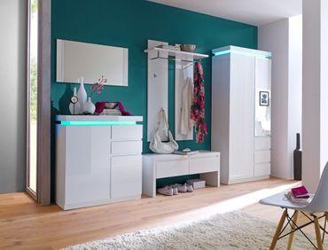 Garderobe Odin Hochglanz weiß 5-teilig LED Beleuchtung Garderobenmöbel
