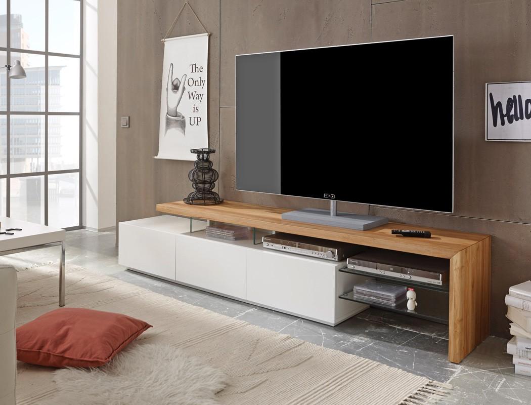 Lowboard 204x40x44cm Weiss Eiche Tv Board Tv Mobel Tv Schrank