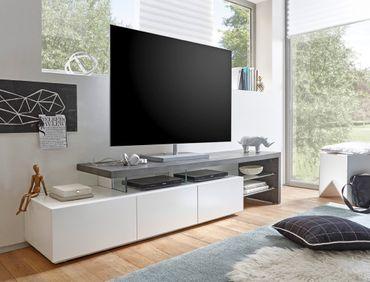 Lowboard Alessa II 204x40x44 cm weiß Beton Dekor TV-Board TV-Möbel
