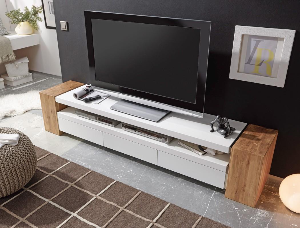 Lowboard Juno II 200x40x40 cm weiß Eiche TV-Board TV-Möbel TV-Schrank