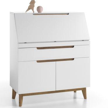 Sekretär Celio 10 weiß Eiche 97x113x40 cm Schreibtisch Arbeitszimmer
