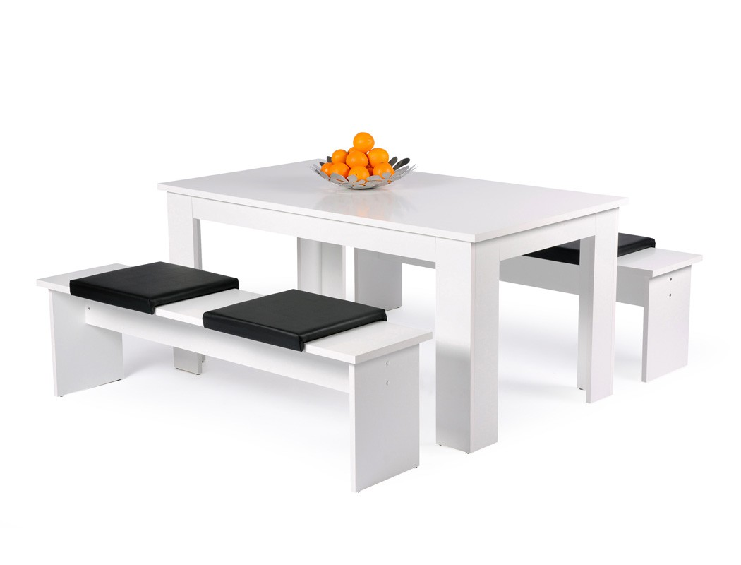 Tischgruppe Hamburg Esstisch 140x80 cm 2x Bank weiß Essgruppe Küche ...