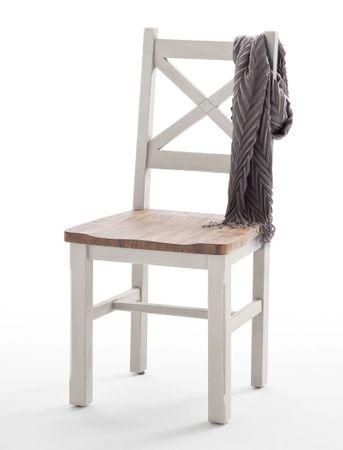 2x Stuhl Bristol 47x102x52  Kiefer weiß Holzstuhl Esszimmer Used Look