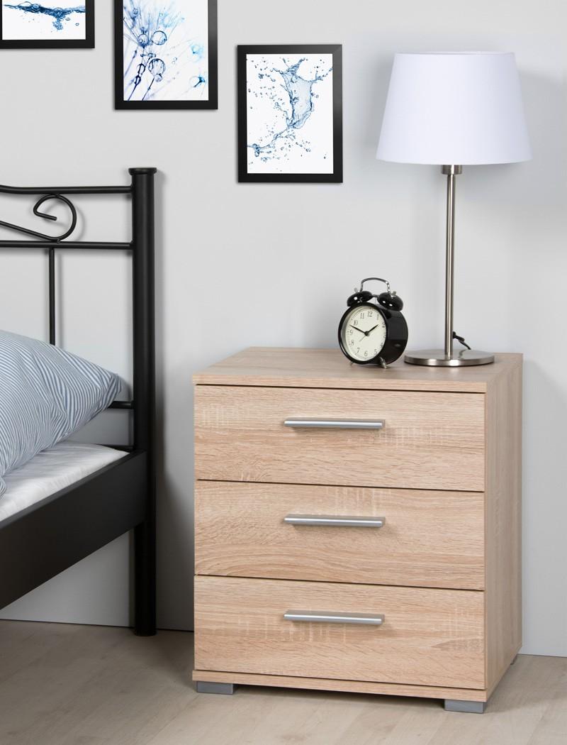 Nachttisch elena 3x schubkasten 45x50x34 cm eiche sonoma - Schlafzimmer nachttisch ...