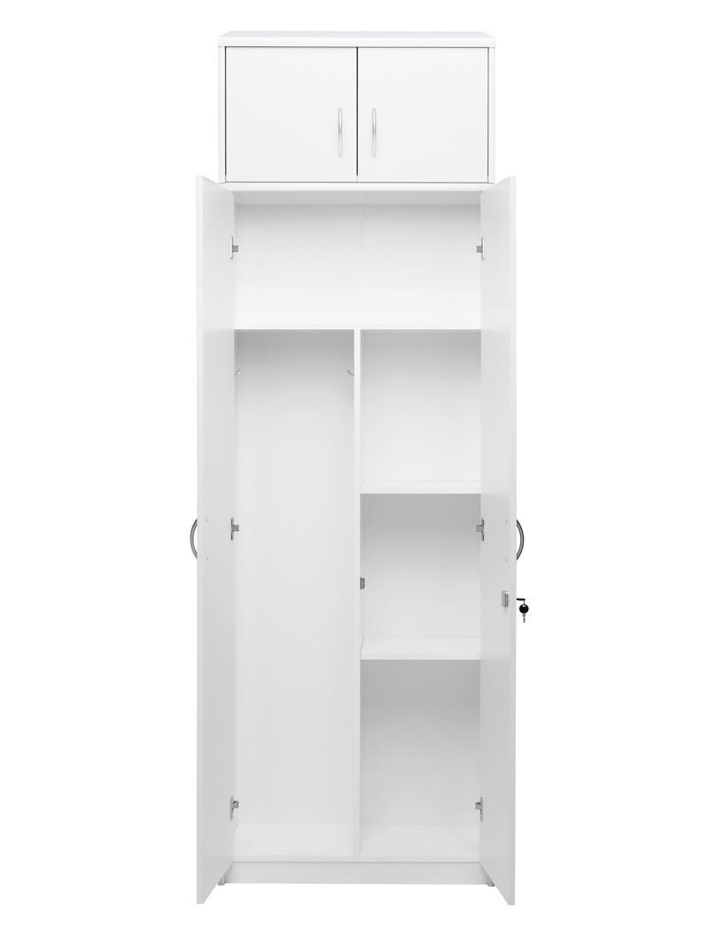 putzschrank mit aufsatz wei 74x224x35 cm besenschrank schrank koblenz 143 ebay. Black Bedroom Furniture Sets. Home Design Ideas