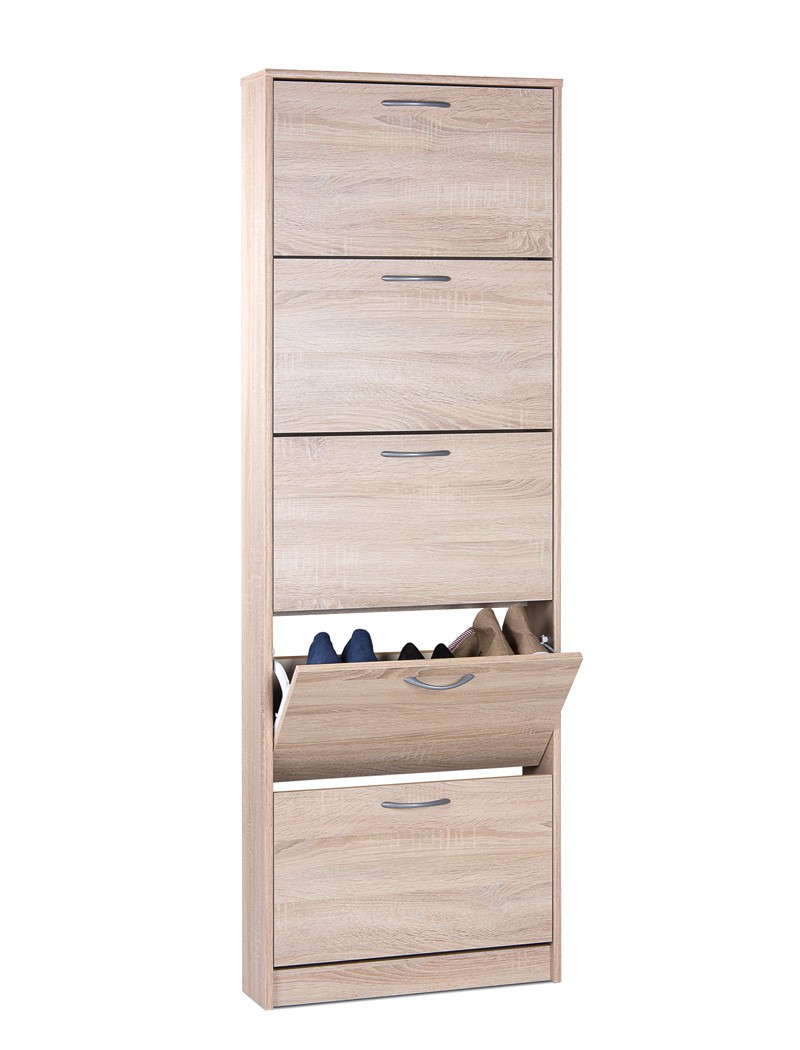 schuhschrank weko 3 eiche sonoma 58x169x17cm schuhkipper dielenschrank wohnbereiche bad. Black Bedroom Furniture Sets. Home Design Ideas