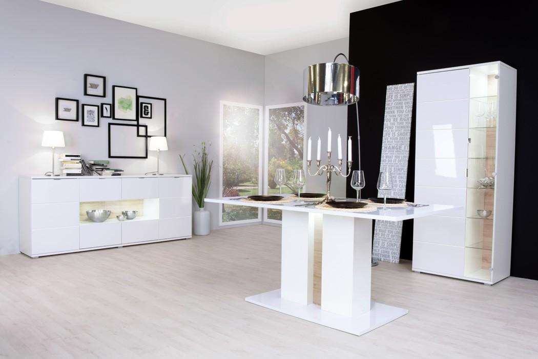 s ulentisch gladys 1 hochglanz wei 160x90x75 esstisch mit beleuchtung wohnbereiche esszimmer. Black Bedroom Furniture Sets. Home Design Ideas