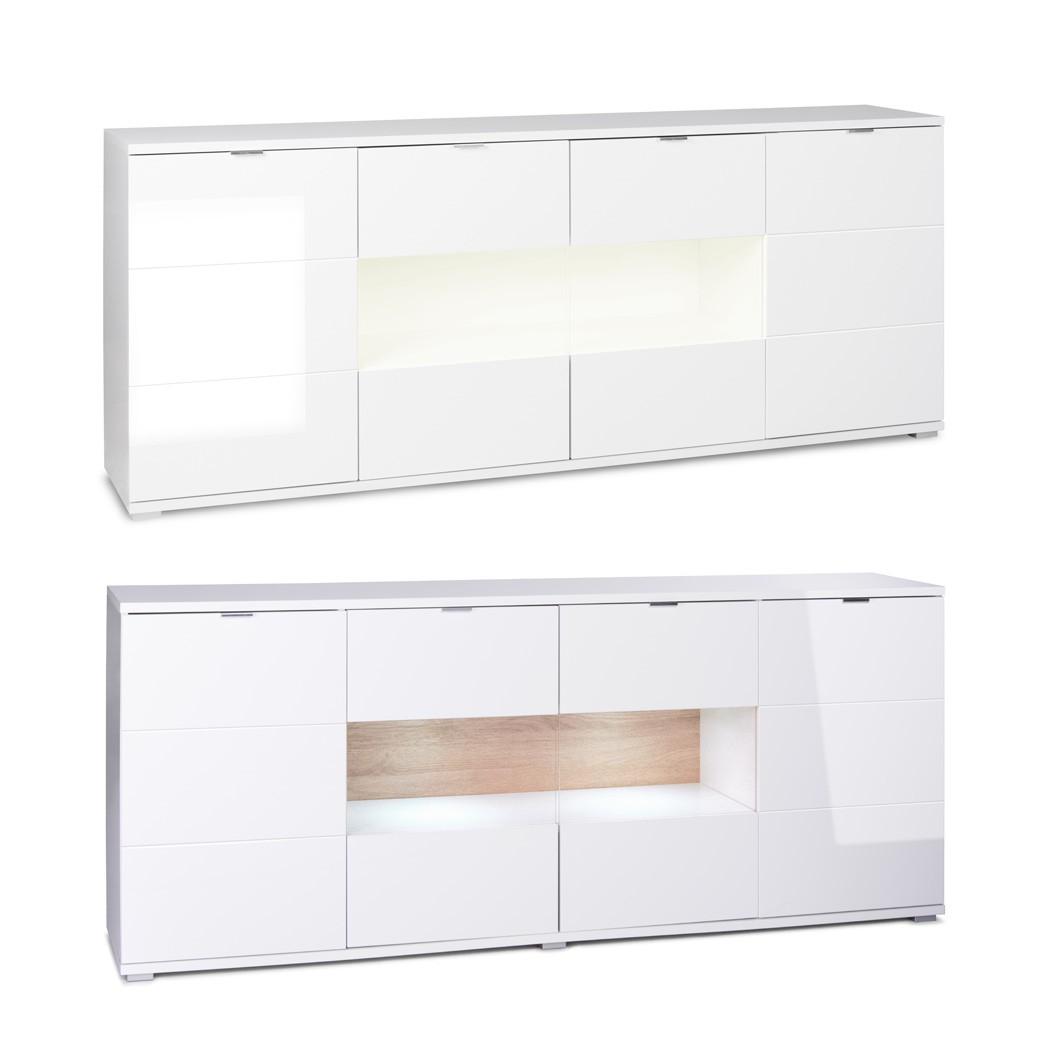 sideboard gladys 5 hochglanz wei 200x85x40cm anrichte mit beleuchtung wohnbereiche esszimmer. Black Bedroom Furniture Sets. Home Design Ideas