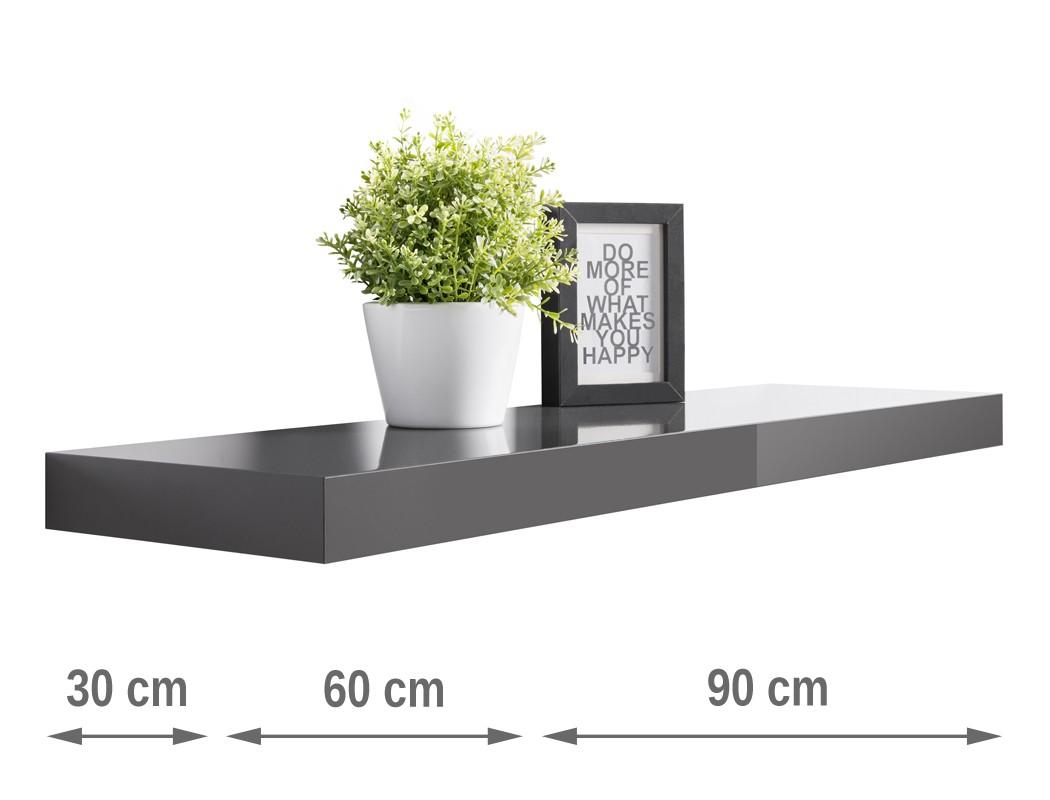 wandboard ted hochglanz 30cm 60cm 90cm farbauswahl wandregal regal wohnbereiche wohnzimmer regale. Black Bedroom Furniture Sets. Home Design Ideas