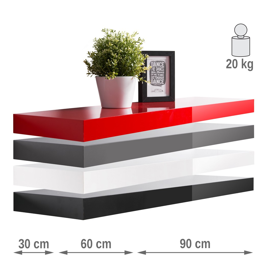 Wandboard Hochglanz 30cm 60cm 90cm Farbauswahl Wandregal