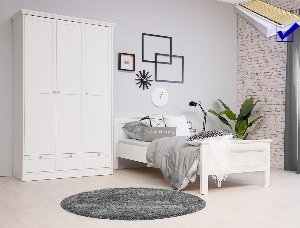 Elegant Bett Jugendzimmer Foto Von Landström 161 Weiß 5-teilig 90x200 Schrank Nachttisch