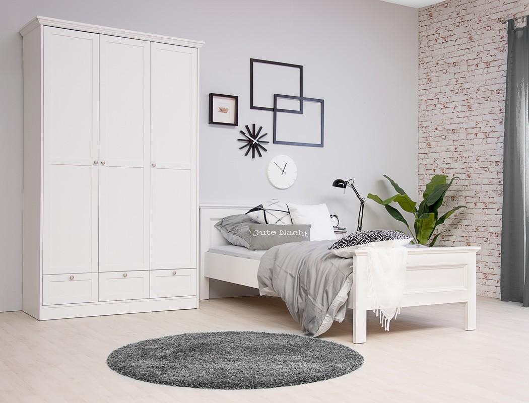Jugendzimmer Landström 161 Weiß 3 Teilig Bett 90x200 Schrank Nako