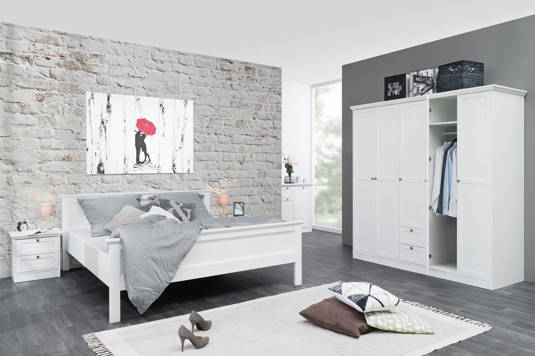 Schlafzimmer landstr m 163 wei 4 teilig bett 180x200 schrank nako wohnbereiche schlafzimmer - Schlafzimmer bett 180x200 ...