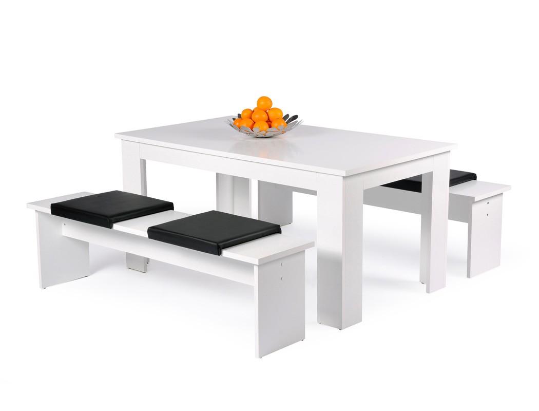 Tischgruppe Hamburg Esstisch 160x90 Cm 2x Bank 160x45x37 Cm Weiß 4x Kissen  Schwarz Esszimmer Küche Wohnzimmer