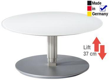 Couchtisch Lüttich rund 80x39 cm höhenverstellbar Glasplatte weiß