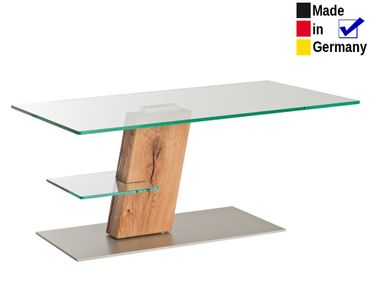 Couchtisch Tilburg 110x65x48 cm Glas Wildeiche geölt Sofatisch