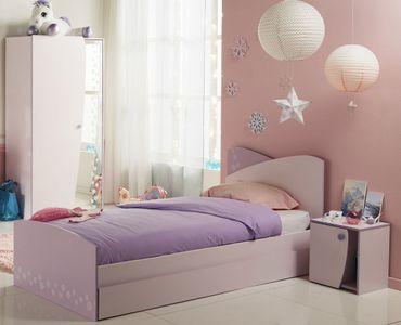 Mädchenzimmer Cristin 3 Rosa Lila Bett Bettkasten Nachttisch Schrank