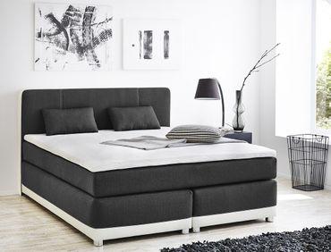 Boxspringbett Tiana 180x200 grau weiß mit Topper + Kissen Komfortbett