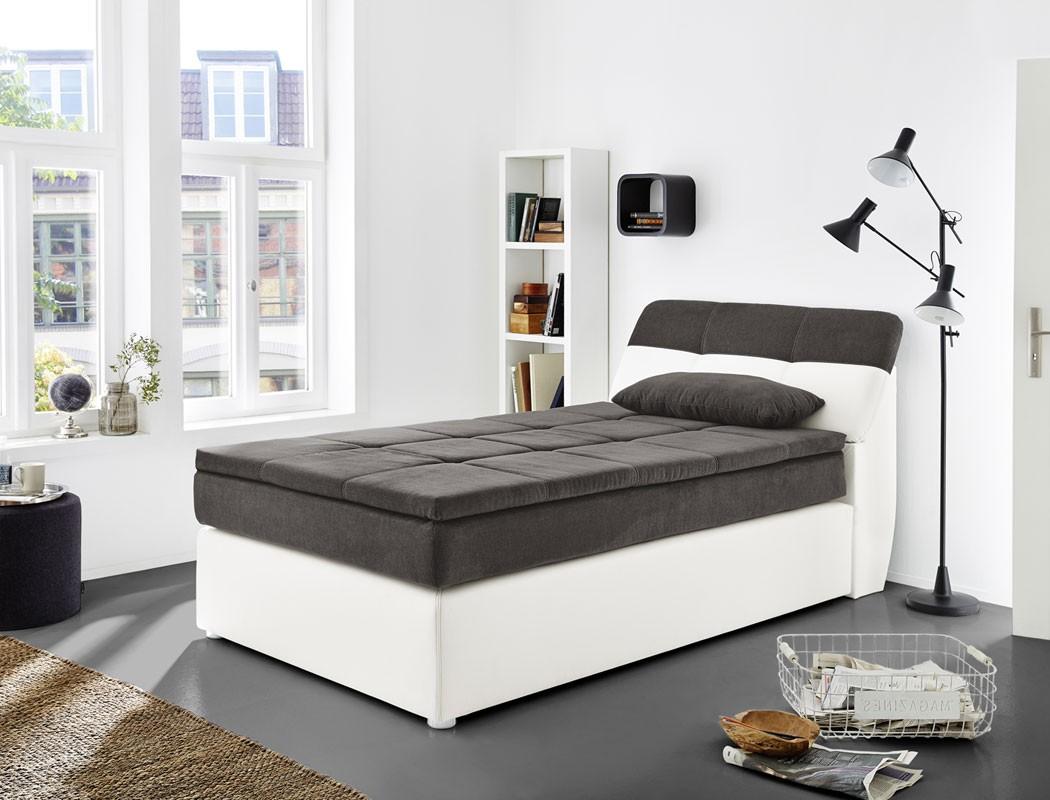 boxspringbett odett 120x200 grau wei mit topper kissen komfortbett wohnbereiche schlafzimmer. Black Bedroom Furniture Sets. Home Design Ideas