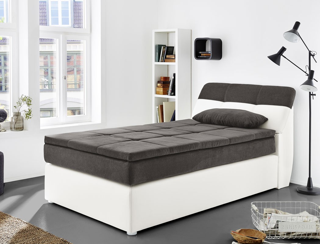boxspringbett odett 120x200 grau wei mit topper kissen. Black Bedroom Furniture Sets. Home Design Ideas