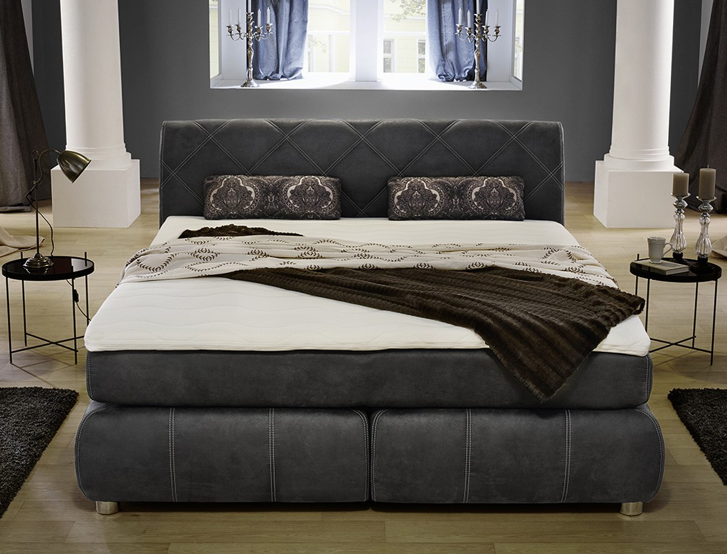 boxspringbett reika 180x200 grau wei mit topper kissen. Black Bedroom Furniture Sets. Home Design Ideas