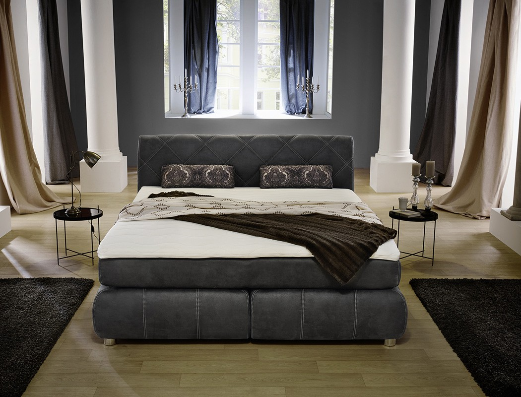 boxspringbett 180x200 grau wei mit topper kissen. Black Bedroom Furniture Sets. Home Design Ideas