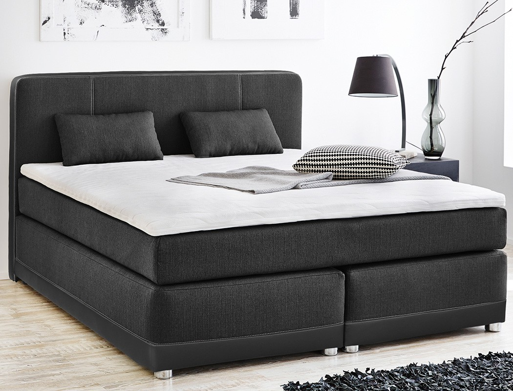 boxspringbett tiana 180x200 grau schwarz mit topper kissen. Black Bedroom Furniture Sets. Home Design Ideas