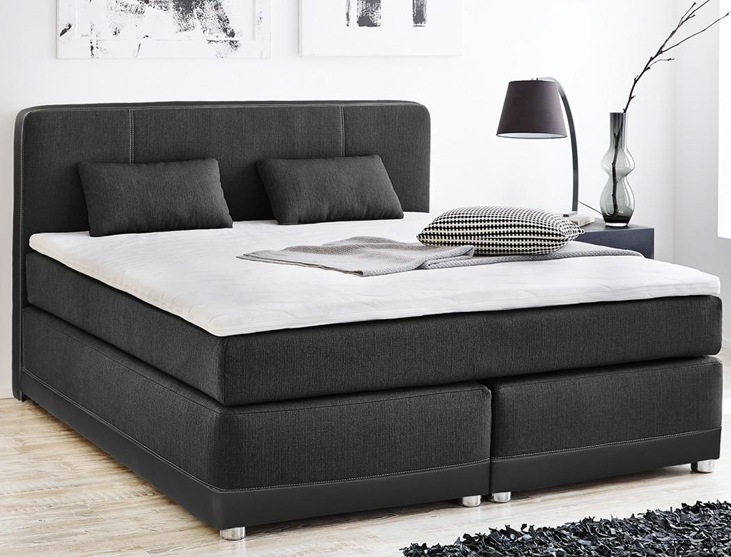 boxspringbett tiana 180x200 grau schwarz mit topper kissen komfortbett wohnbereiche schlafzimmer. Black Bedroom Furniture Sets. Home Design Ideas