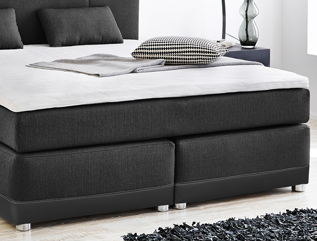 boxspringbett tiana 180x200 grau schwarz mit topper kissen komfortbett wohnbereiche schlafzimmer. Black Bedroom Furniture Sets. Home Design Ideas