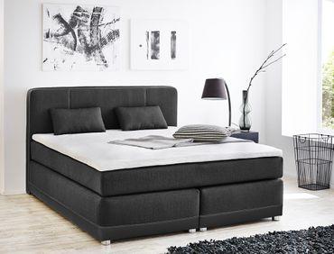 Boxspringbett Tiana 180x200 grau schwarz mit Topper Kissen Komfortbett