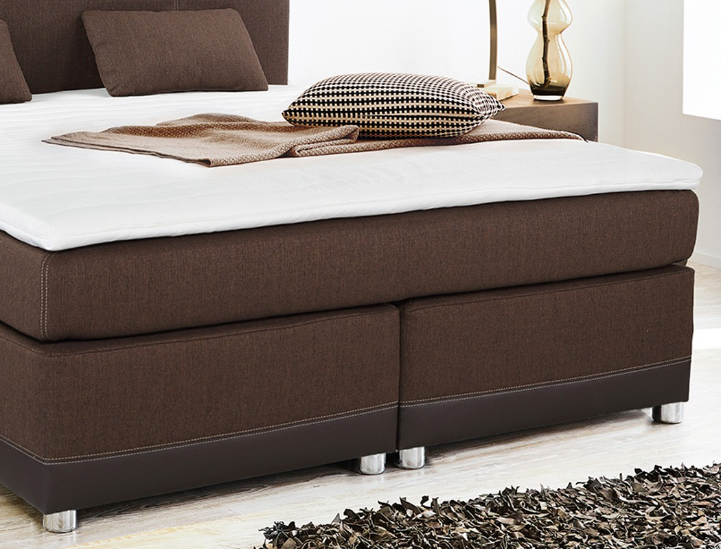 boxspringbett tiana 180x200 cm braun mit topper und kissen komfortbett wohnbereiche schlafzimmer. Black Bedroom Furniture Sets. Home Design Ideas