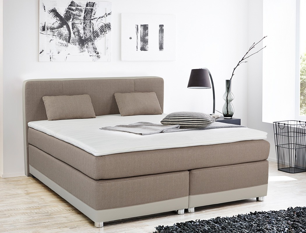 boxspringbett tiana 180x200 cappuccino mit topper kissen. Black Bedroom Furniture Sets. Home Design Ideas