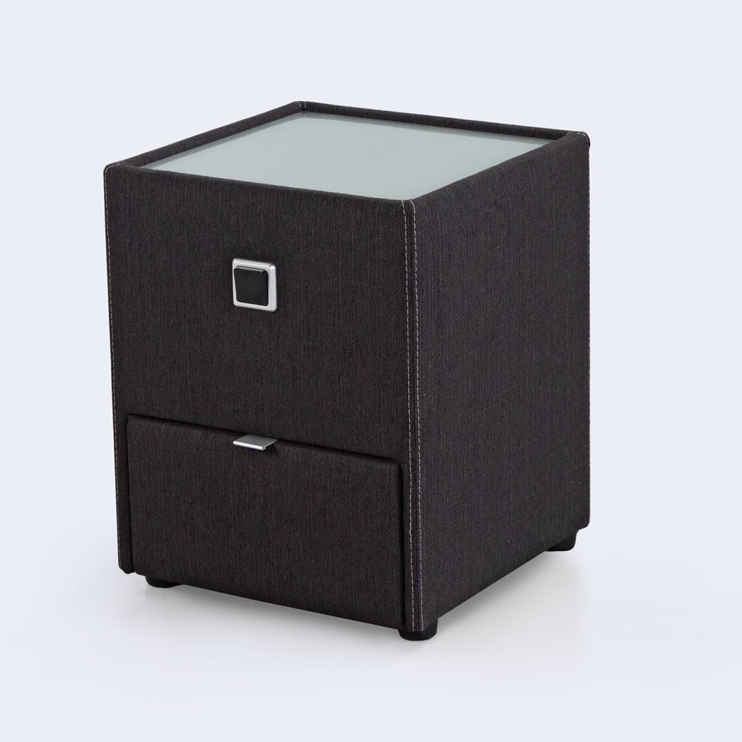 nachttisch leya dunkelgrau 43x53x45 cm nachtkonsole mit beleuchtung wohnbereiche schlafzimmer. Black Bedroom Furniture Sets. Home Design Ideas