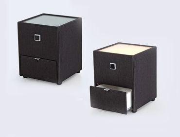 Nachttisch Leya dunkelgrau 43x53x45 cm Nachtkonsole mit Beleuchtung