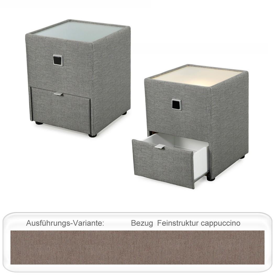 nachttisch leya cappuccino 43x53x45 cm nachtkonsole mit beleuchtung wohnbereiche schlafzimmer. Black Bedroom Furniture Sets. Home Design Ideas