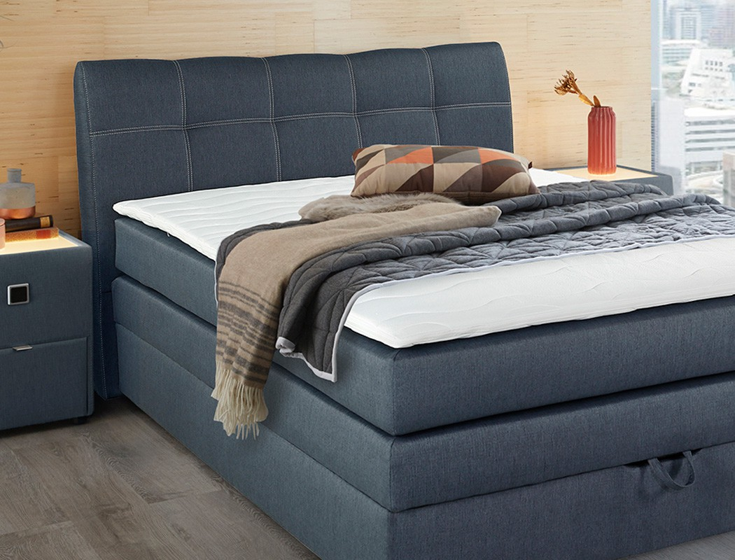 boxspringbett amalina 140x200 blau nachttisch mit. Black Bedroom Furniture Sets. Home Design Ideas
